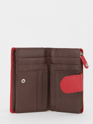 Oxford Colourblock Leather Medium Wallet - Red/Brown