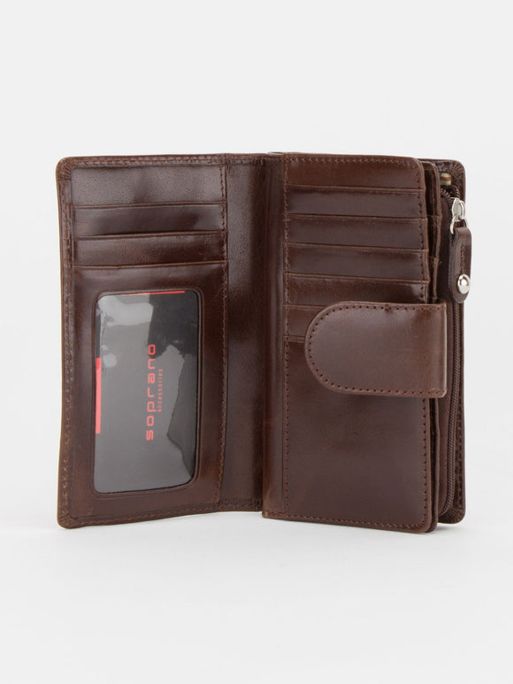 Birmingham Glazed Leather Medium Wallet - Brown