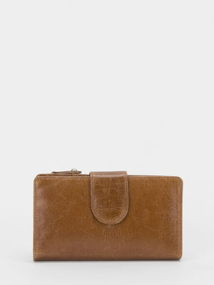 Brighton Marble Glazed Leather Medium Wallet - Honey