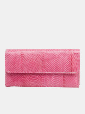 Leeds Watersnake Skin Long Wallet - Fuchsia
