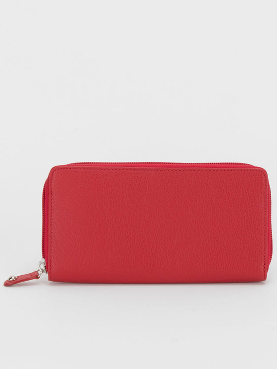 Lancaster Leather Zip Around Long Wallet - Red