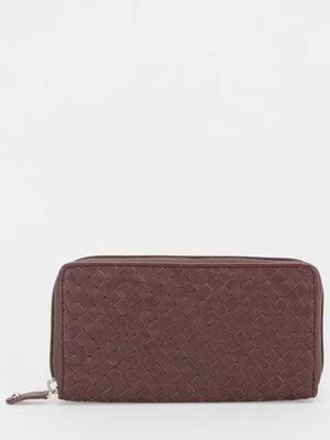 Southampton Woven Leather Zip Around Long Wallet - Maroon