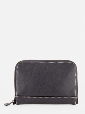 Jessica Leather Jewellery Pouch - Black