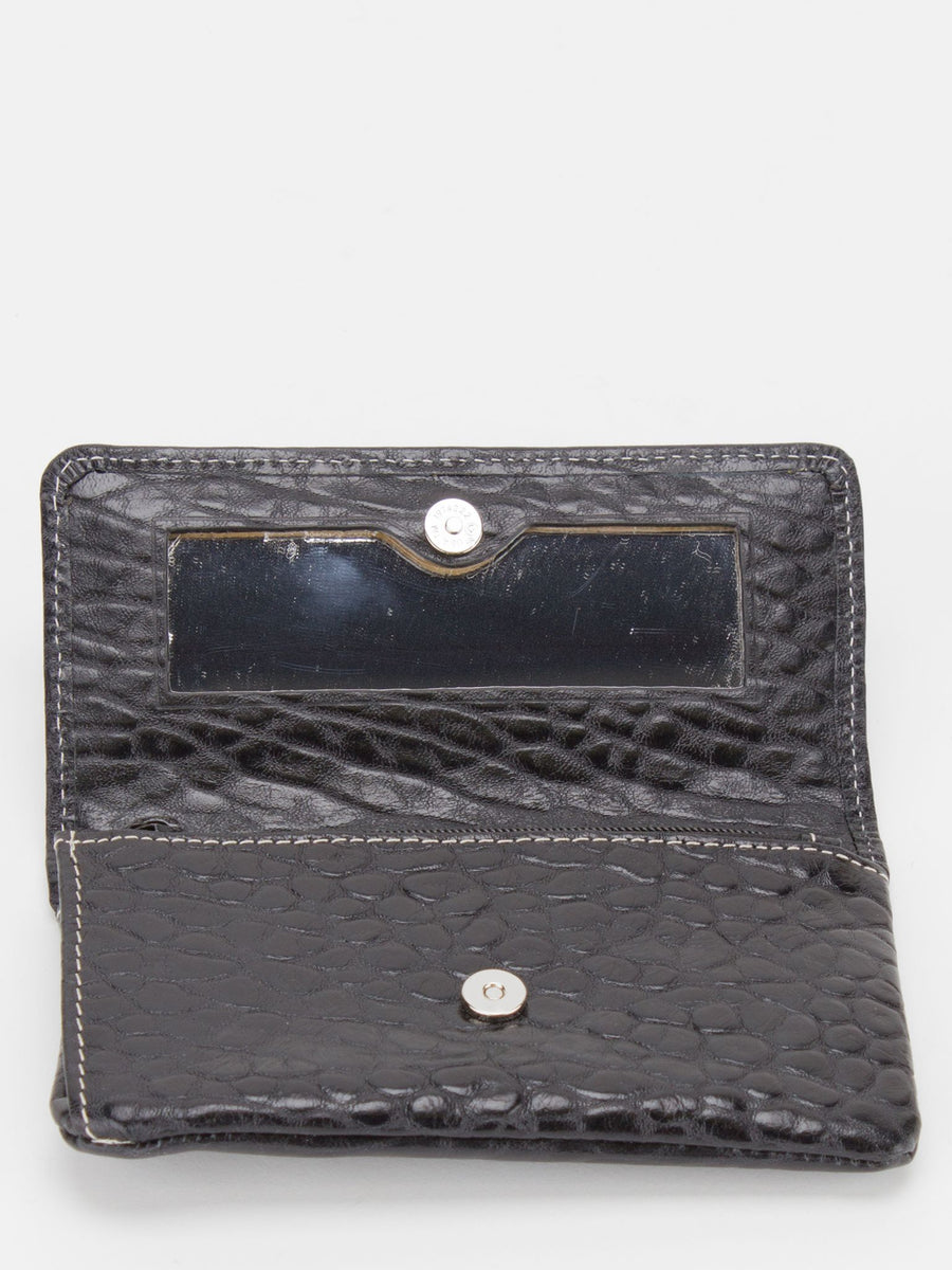 Orchid Leather Makeup Pouch - Black