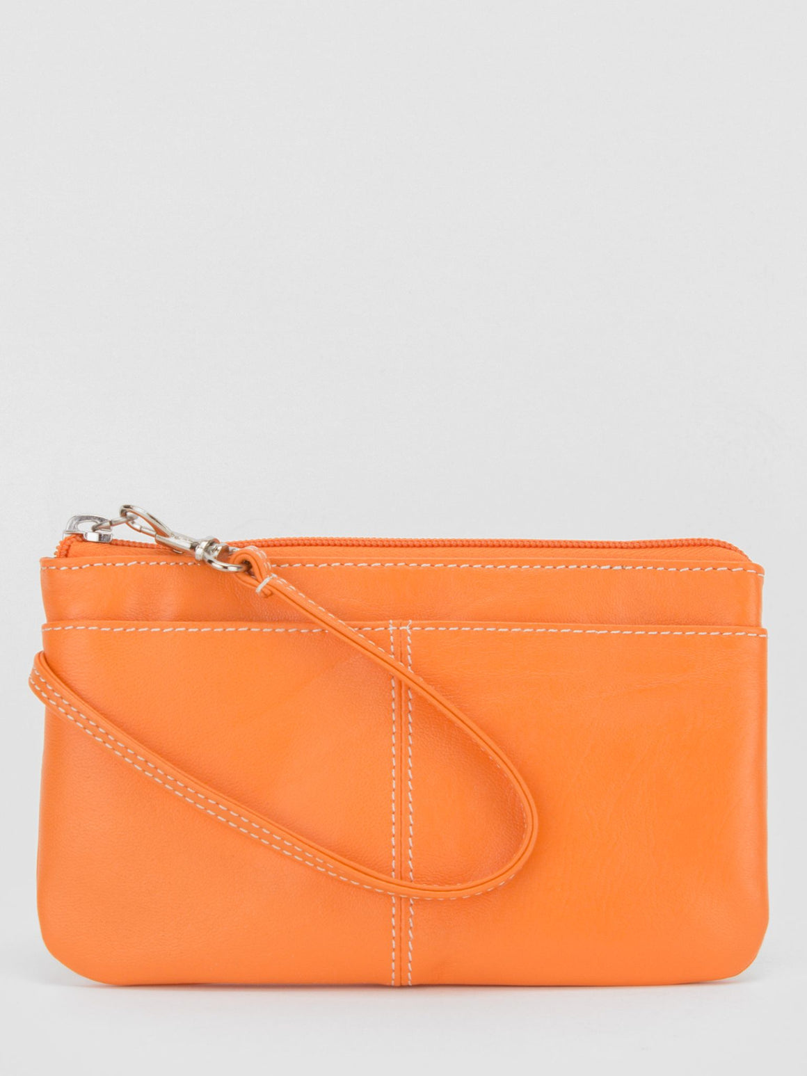 Peony Medium Leather Wristlet - Orange