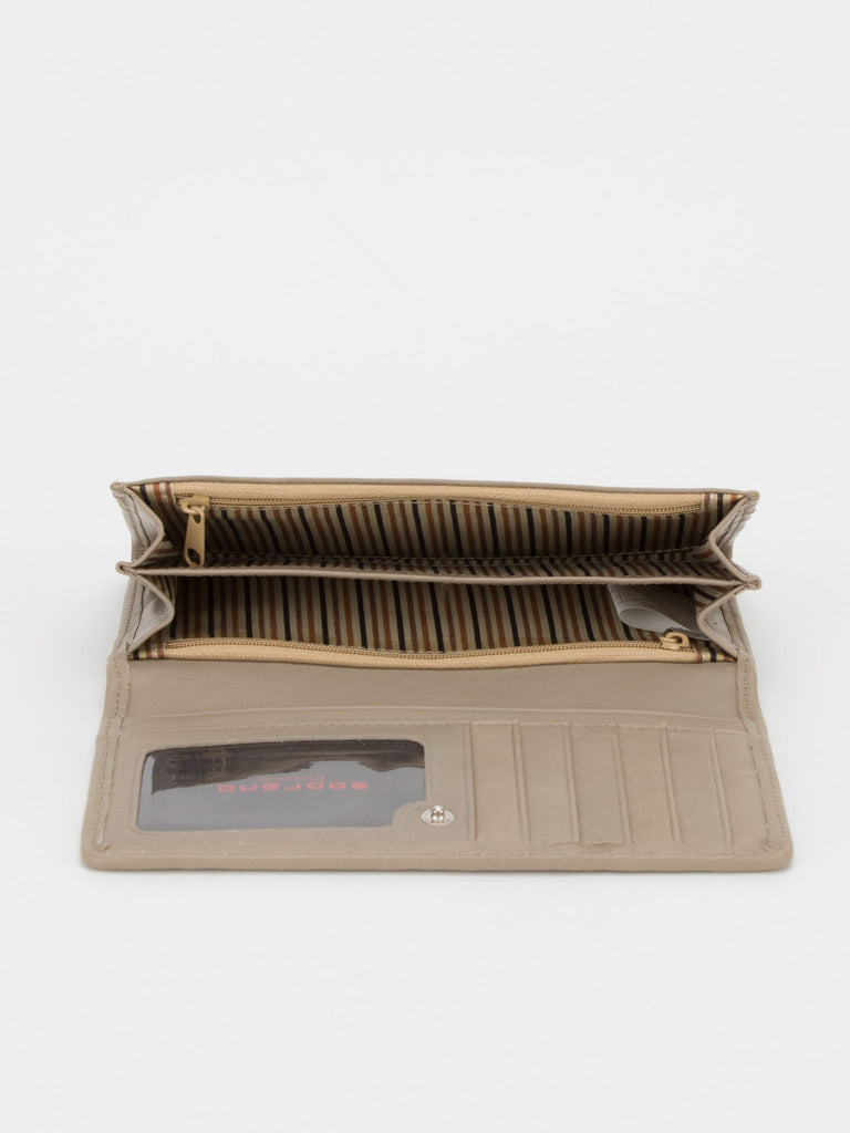 SHEFFIELD Woven Leather Long Wallet - Beige