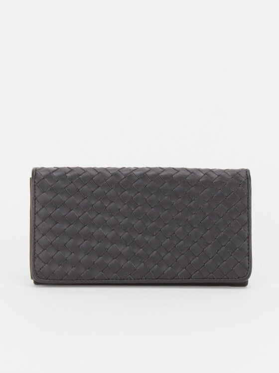 Sheffield Woven Leather Long Wallet - Black