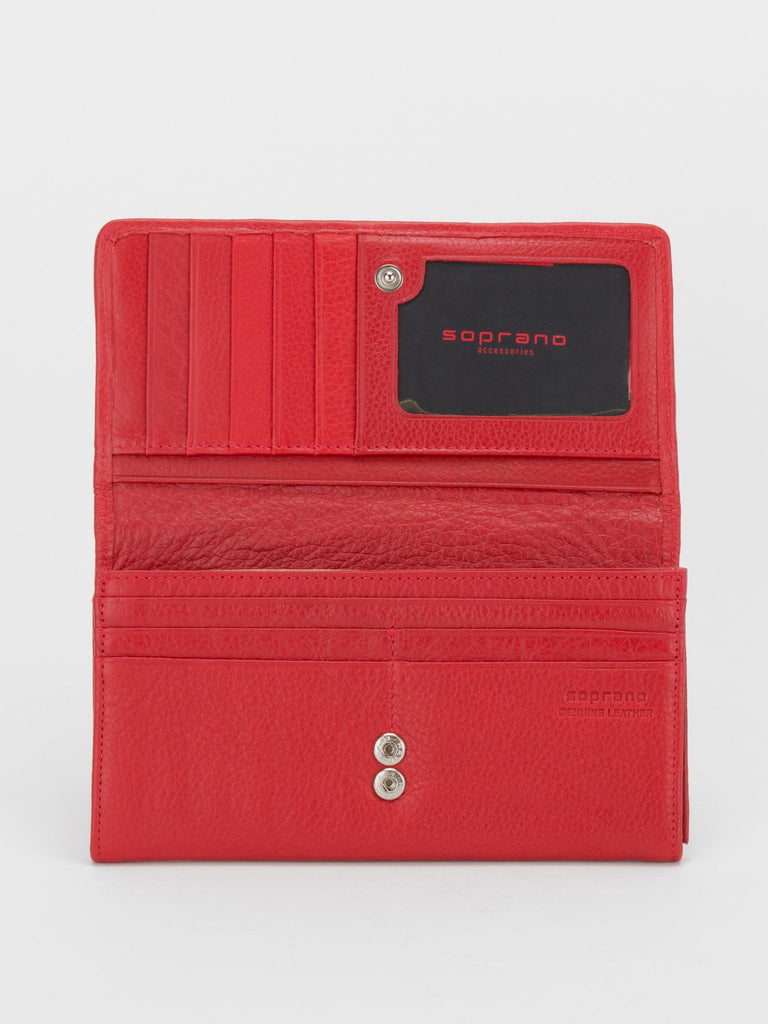 SHEFFIELD Woven Leather Long Wallet -Red