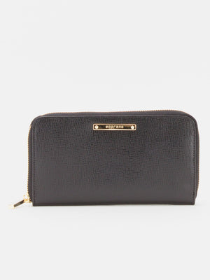 Yumi Leather Zip Around Long Wallet - Black