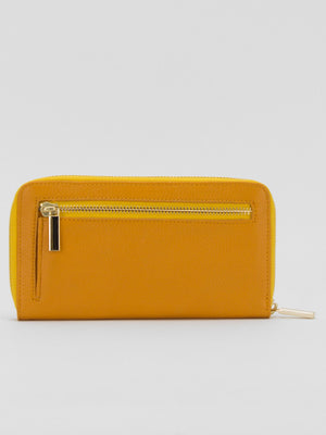 Yumi Leather Zip Around Long Wallet - Sunflower Yellow