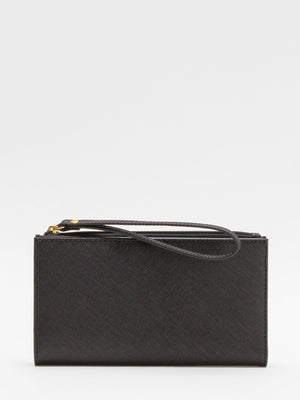 Laura Leather Long Wallet - Black