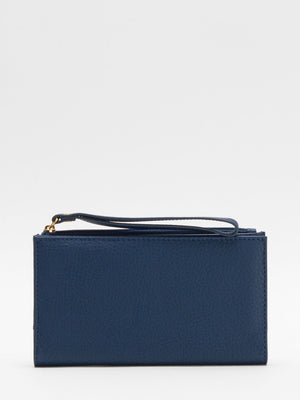 Laura Leather Long Wallet - Blue