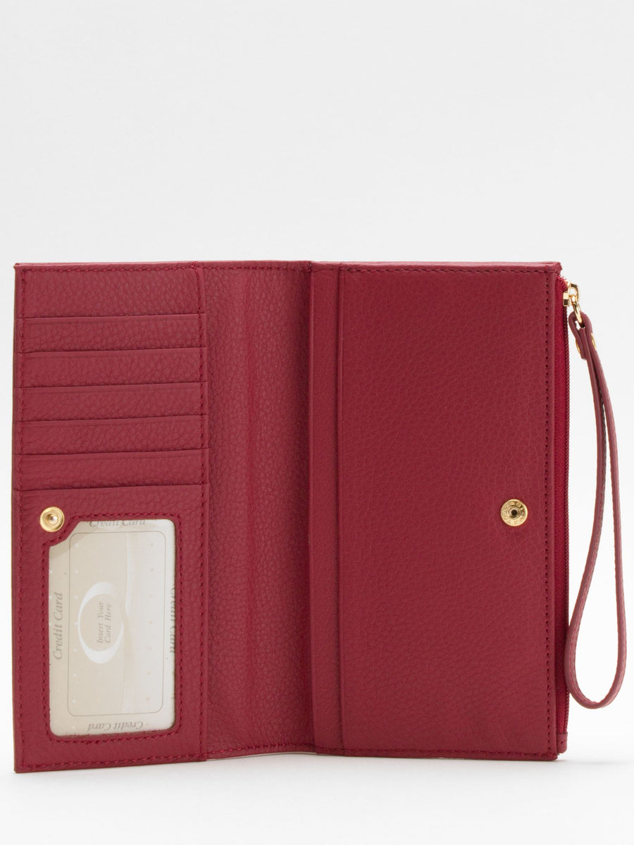 Laura Leather Long Wallet - Red