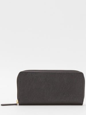 Gisele Leather Zip Around Long Wallet - Black