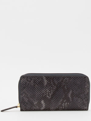 Gisele Leather Zip Around Long Wallet - Black Multi