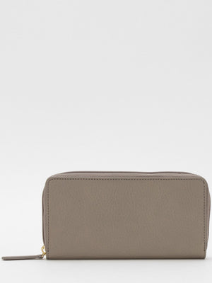 Gisele Leather Zip Around Long Wallet - Grey