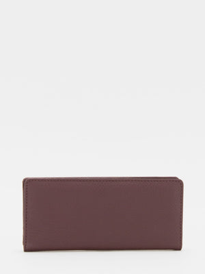 Cassidy Leather Long Wallet - Burgundy
