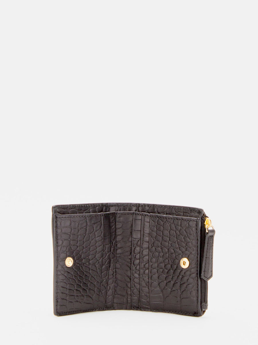 Justina Small Leather Wallet - Matte Black