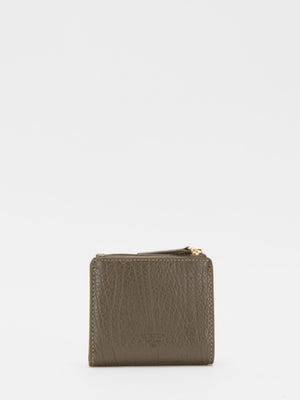 Justina Small Leather Wallet - Olive