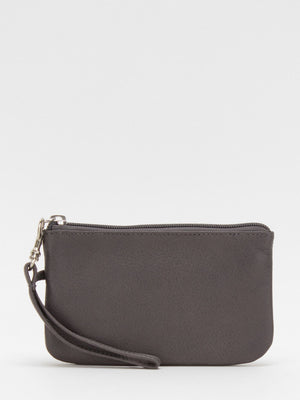 Harper Leather Wristlet - Grey