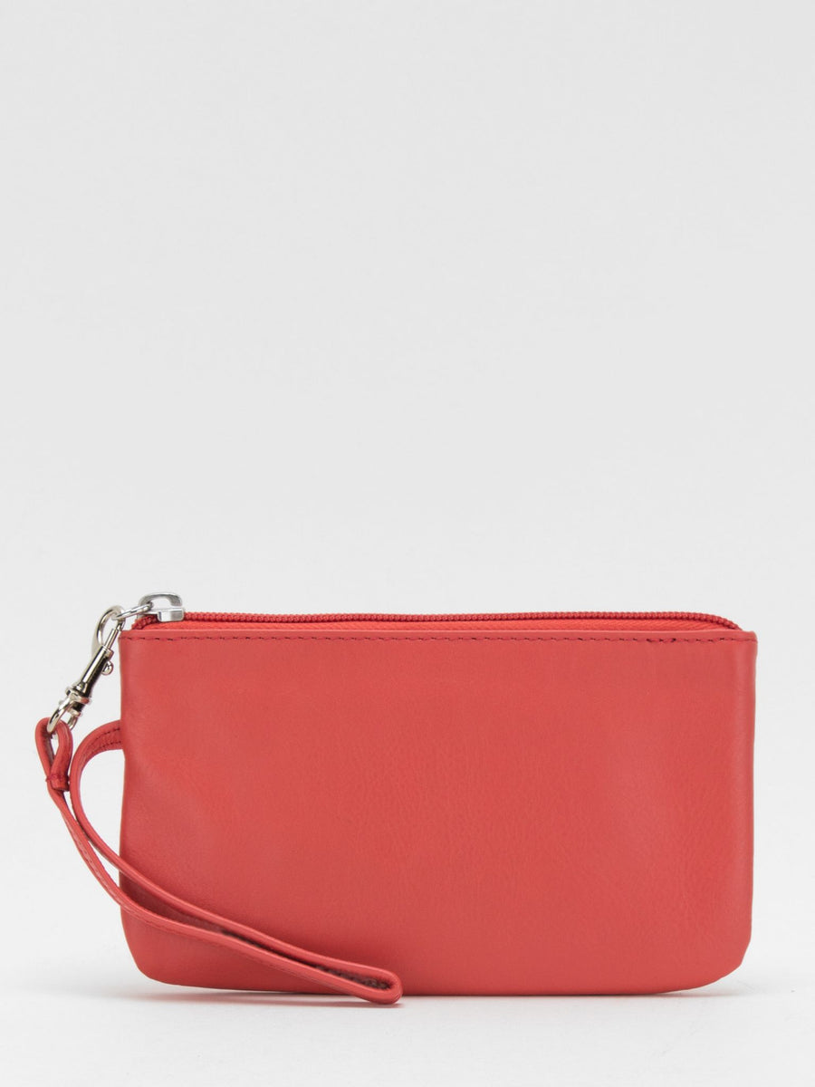 Harper Leather Wristlet - Coral