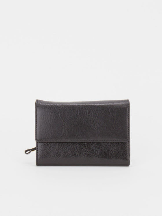 Lucent Glazed Leather Medium Wallet - Black