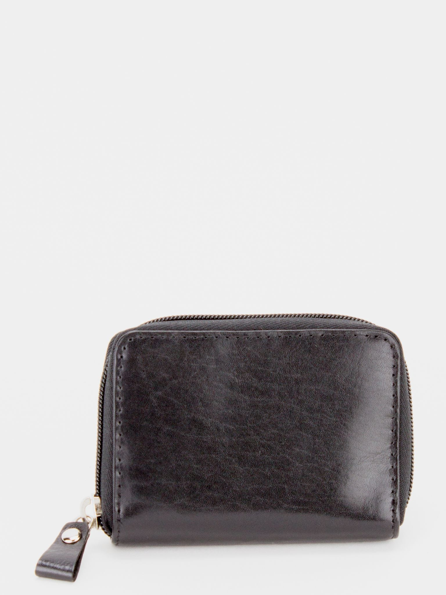 Cherry Glazed Leather Accordion Card Holder - Black