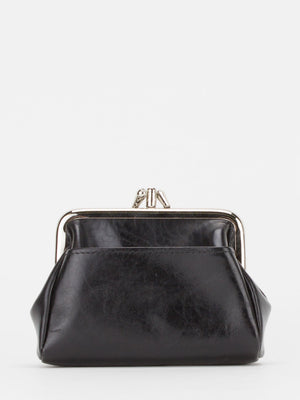 Bluebell Glazed Leather Double Frame Clutch - Black