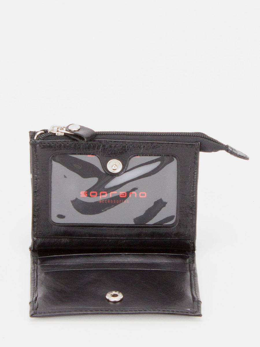 Daffodil Glazed Leather Card Wallet - Black