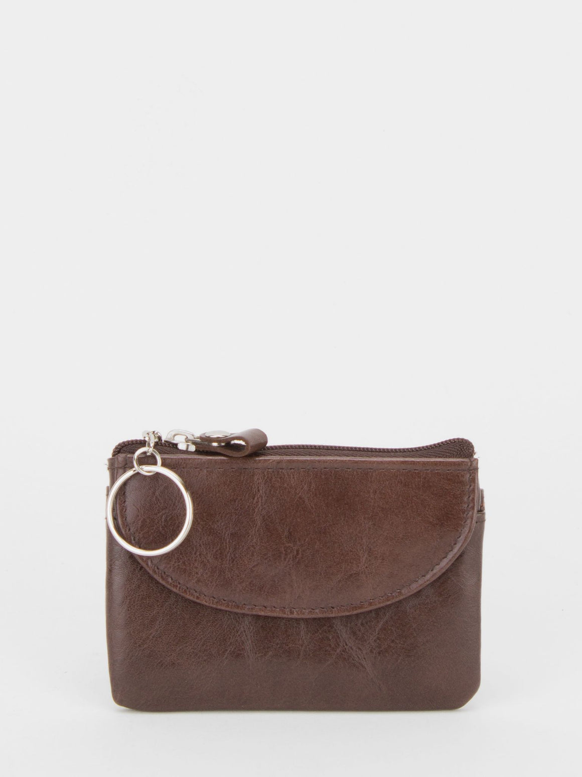 Heather Glazed Leather Change Purse - Brown