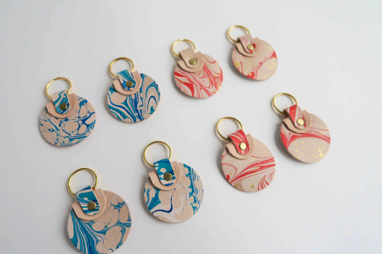 Round Key Chain - Marbled Collection