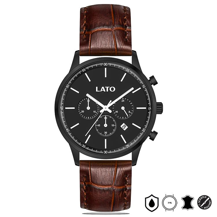 Lato Chrono Black/Brown Leather Watch