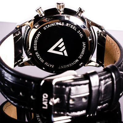 Lato Chrono White/Black Leather Watch