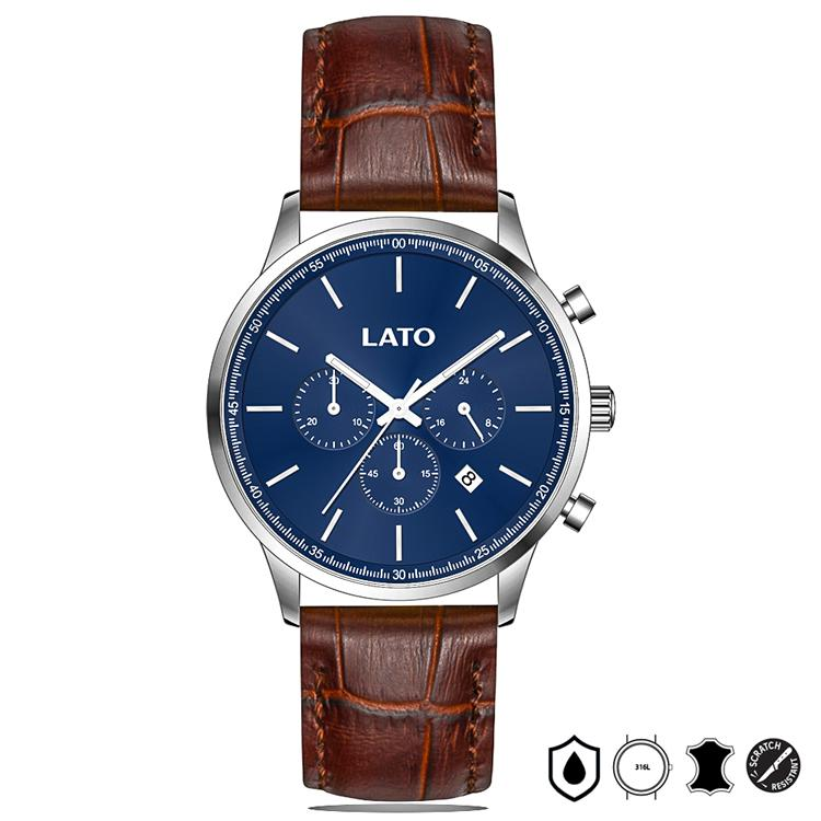 Lato Chrono Blue/Brown Leather Watch