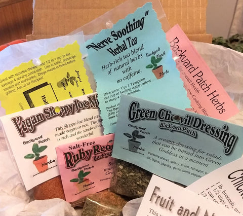 Sample Box / CSA Box, seasonings and recipes