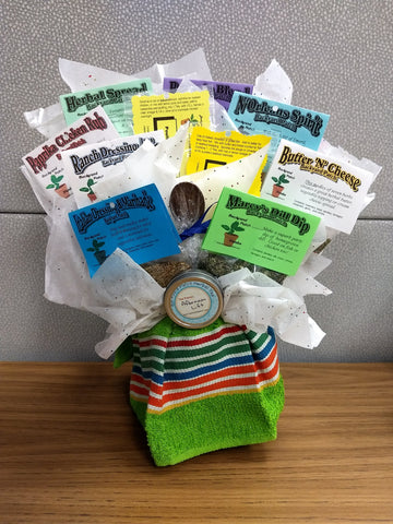 Bouquet Gift Basket, herb mixes and seasonings, herb tea