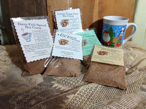 Instant Herbal Hot Chocolate - Cocoa Mixes, choose ONE of 5, cinnamon, nutmeg, allspice, cocoa, milk