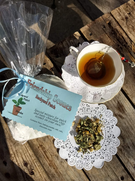 Scone and Tea Gift Package, Chocolate Chip Friendship Scone Dry Mix and Holiday Tulsi Herb Tea, gift set, gift basket