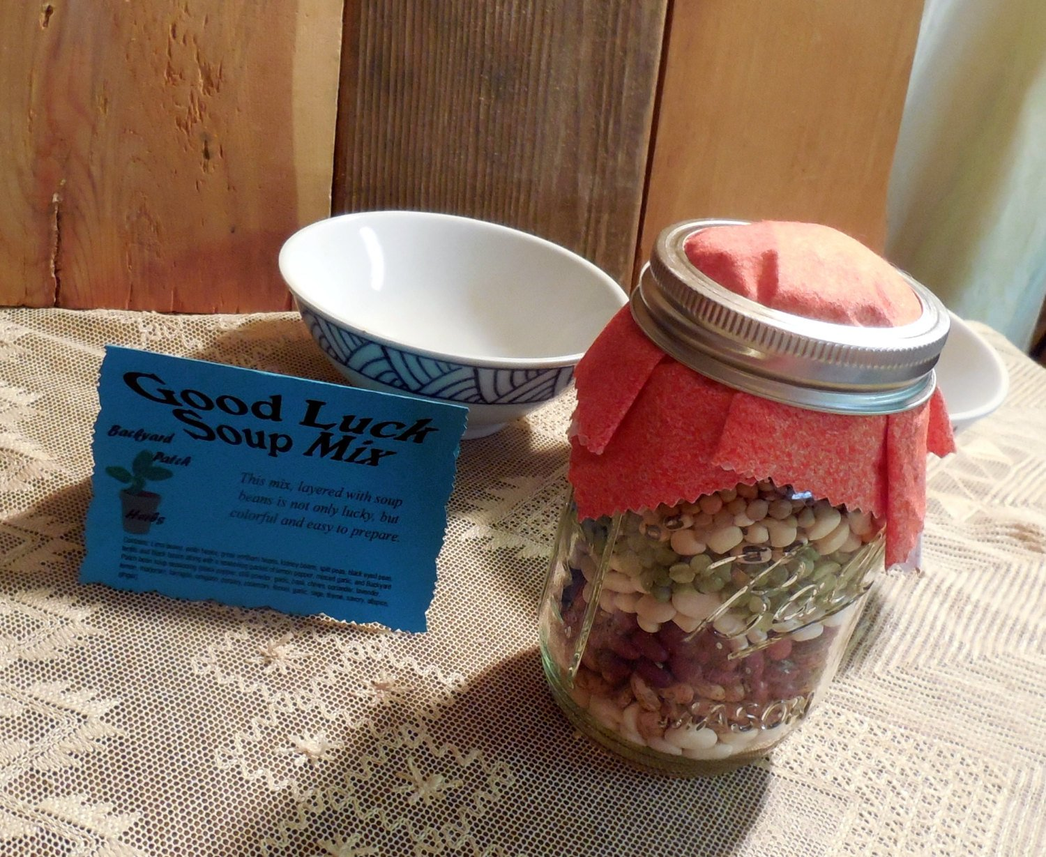 Jar Soup Mixes, Good Luck Soup, Patchwork Soup or Pasta Fazuul soup mix in a Mason Jar