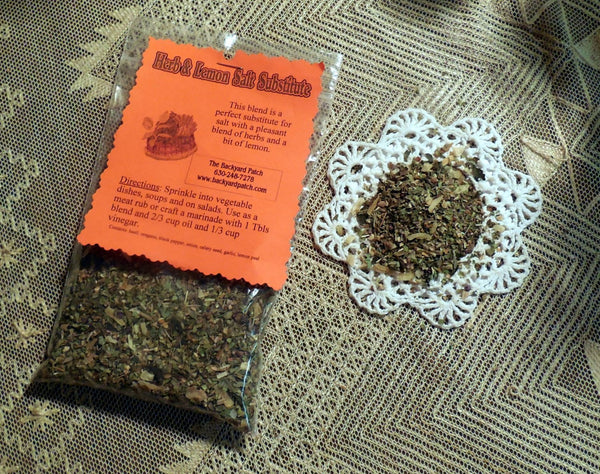 Salt Substitute refill bag, herb cooking seasoning, features garlic, onion, dried herbs, salt free