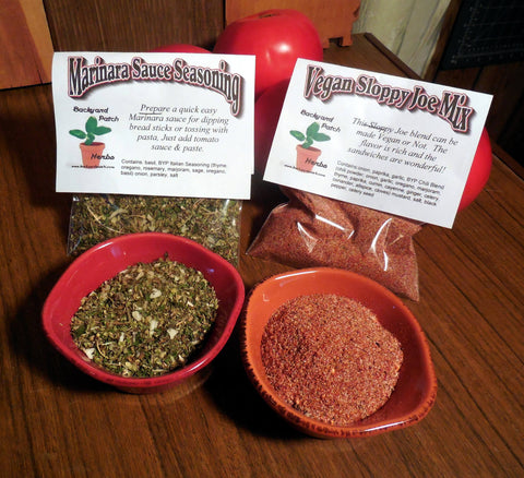 New Vegan Sloppy Joe and Marinara Sauce Mixes, Hand-blended dry HERB MIX, gluten free, vegan