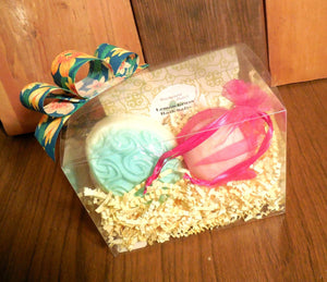 Bath Spa Box Gift Set, Lemon/Yellow, Bath Salts, Bath Fizz, soap