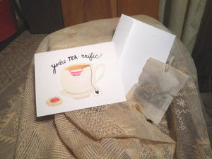 Greeting Card, Tea Theme Blank Card with tea bag, you are tea-riffic