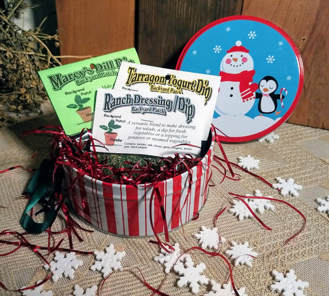 Holiday Gift Tin of Herb Cooking Mixes, Choose 3 or 5 Seasoning Blends