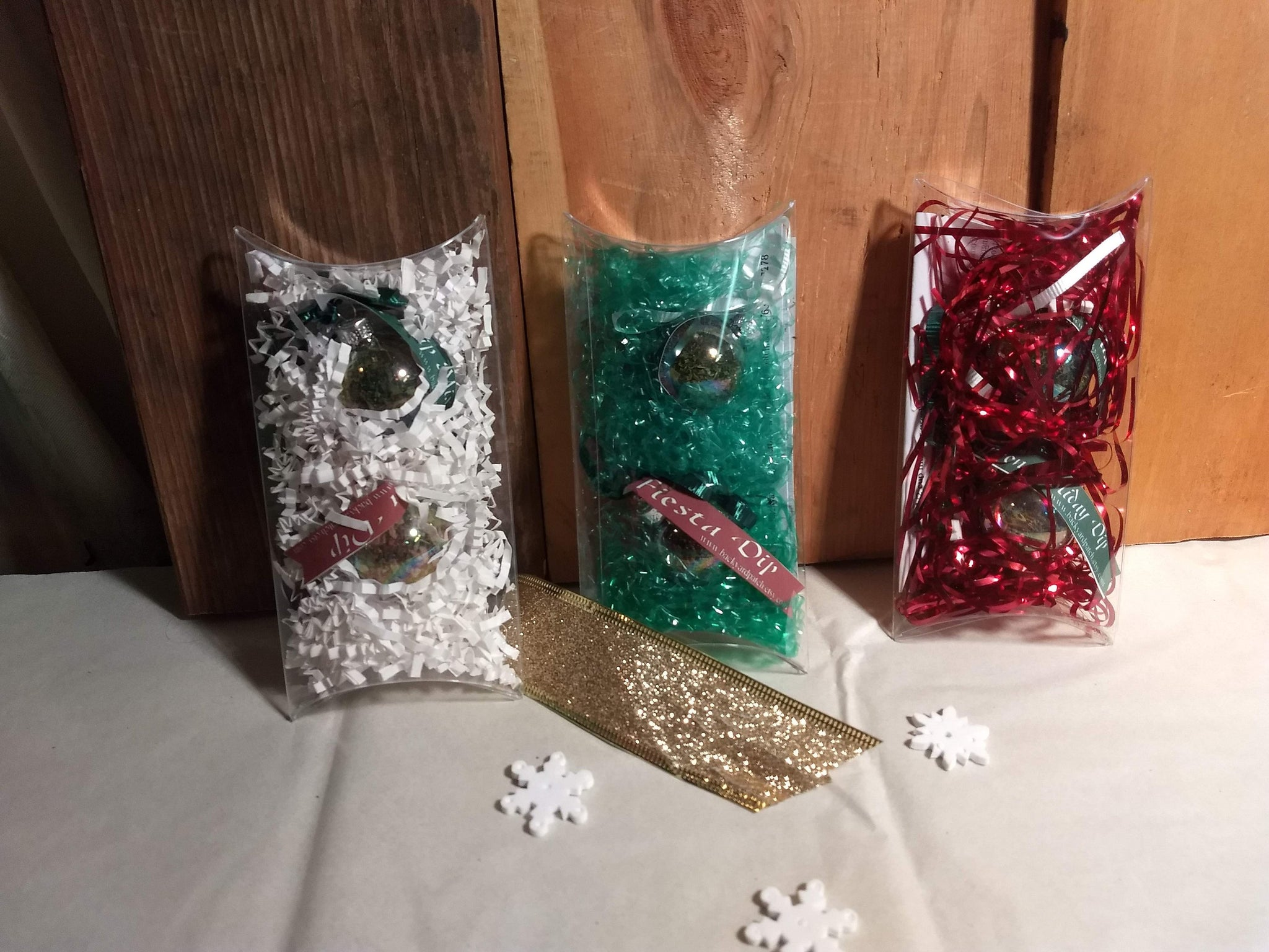 Dip Ornaments, Holiday bulb-shaped ornaments in a gift set filled with our famous dip mixes
