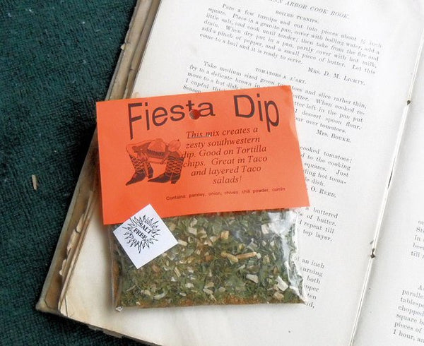 Fiesta Taco Dip Dry Herb Seasoning Mix, cumin, taco seasoning, salt-free, no gluten