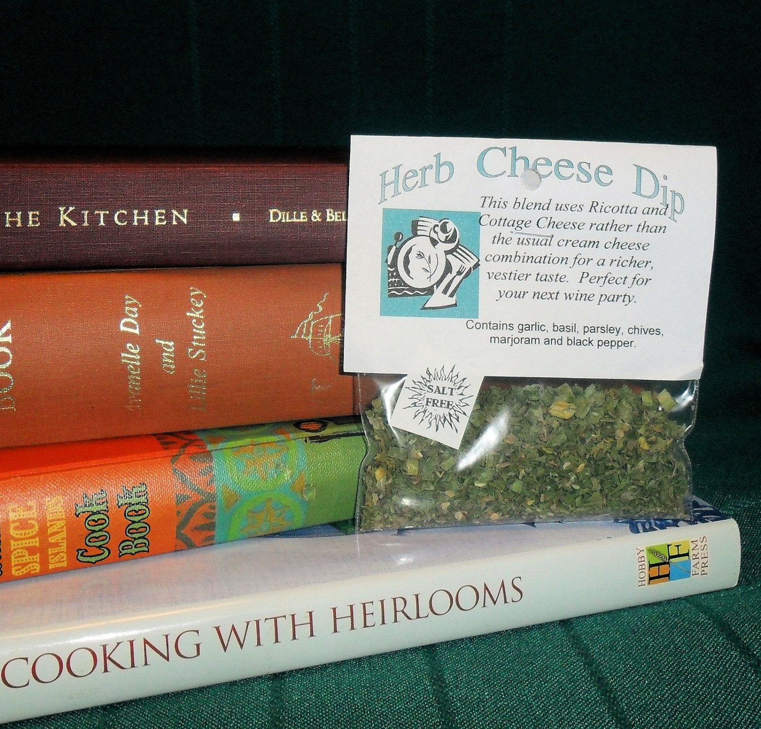 Herb Cheese Dip Mix, Hand-blended dry herb seasoning mix, gluten and salt free, garlic, basil