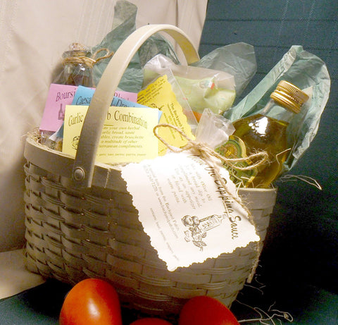 Pasta Dinner in a Basket, seasonings, recipes and ingredients