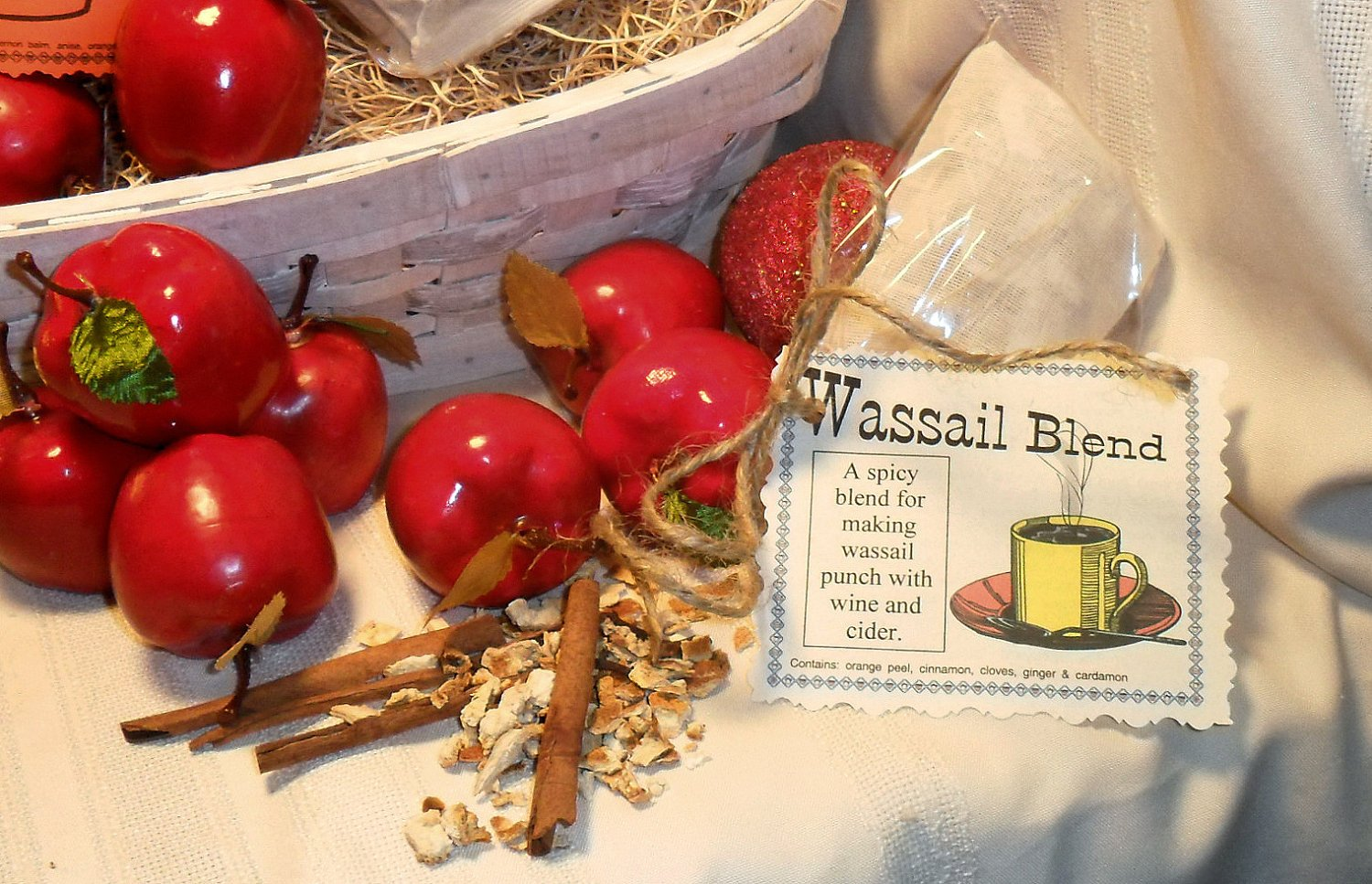 Wassail Spice and Herb Blend, makes cider and wine special, glogg, cinnamon, cider blend, spiced wine, cardamom