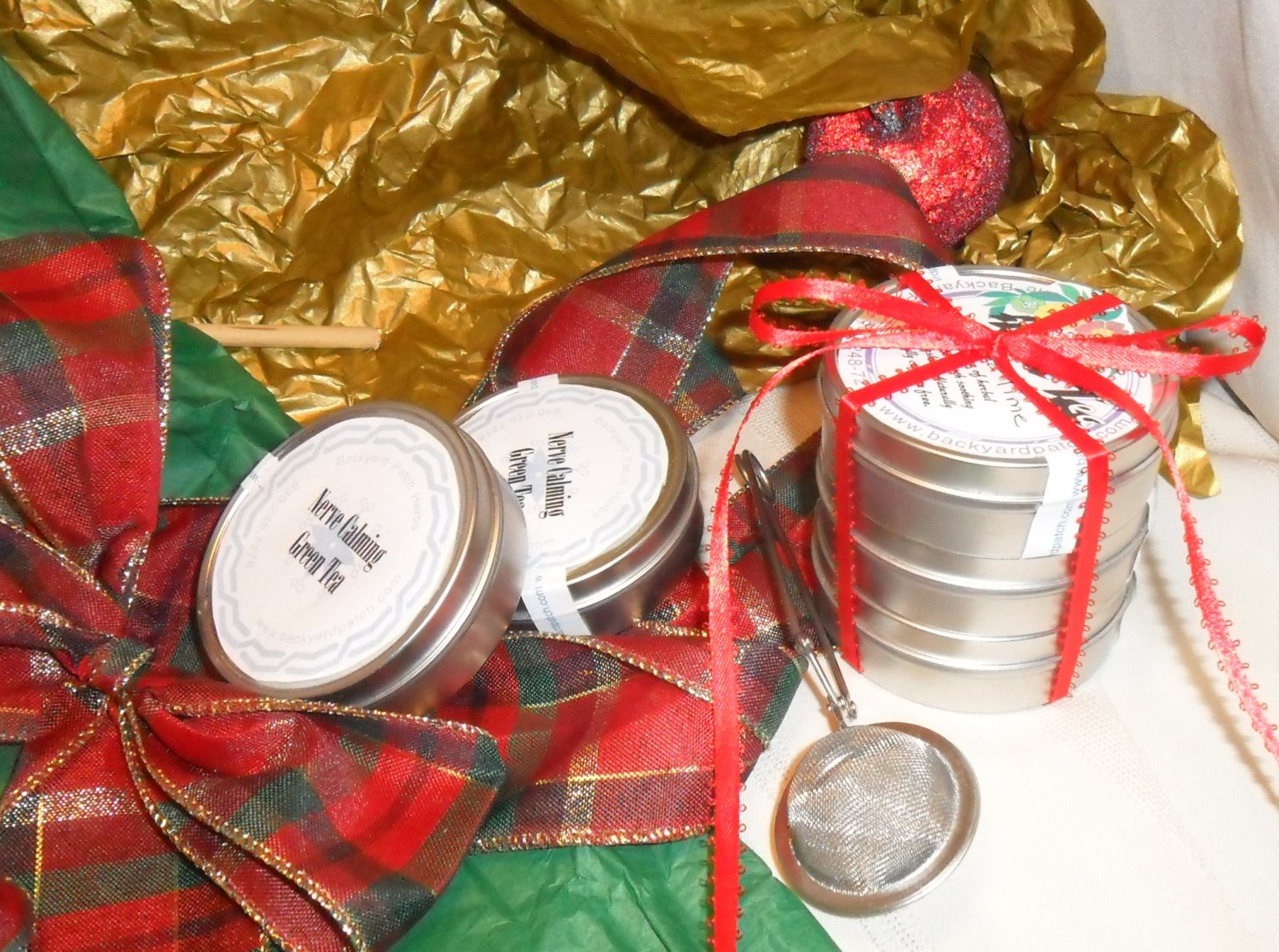 Holiday Set Herb Tea Tower Package, set of five, herbal tea tins, tea infuser, tea ball